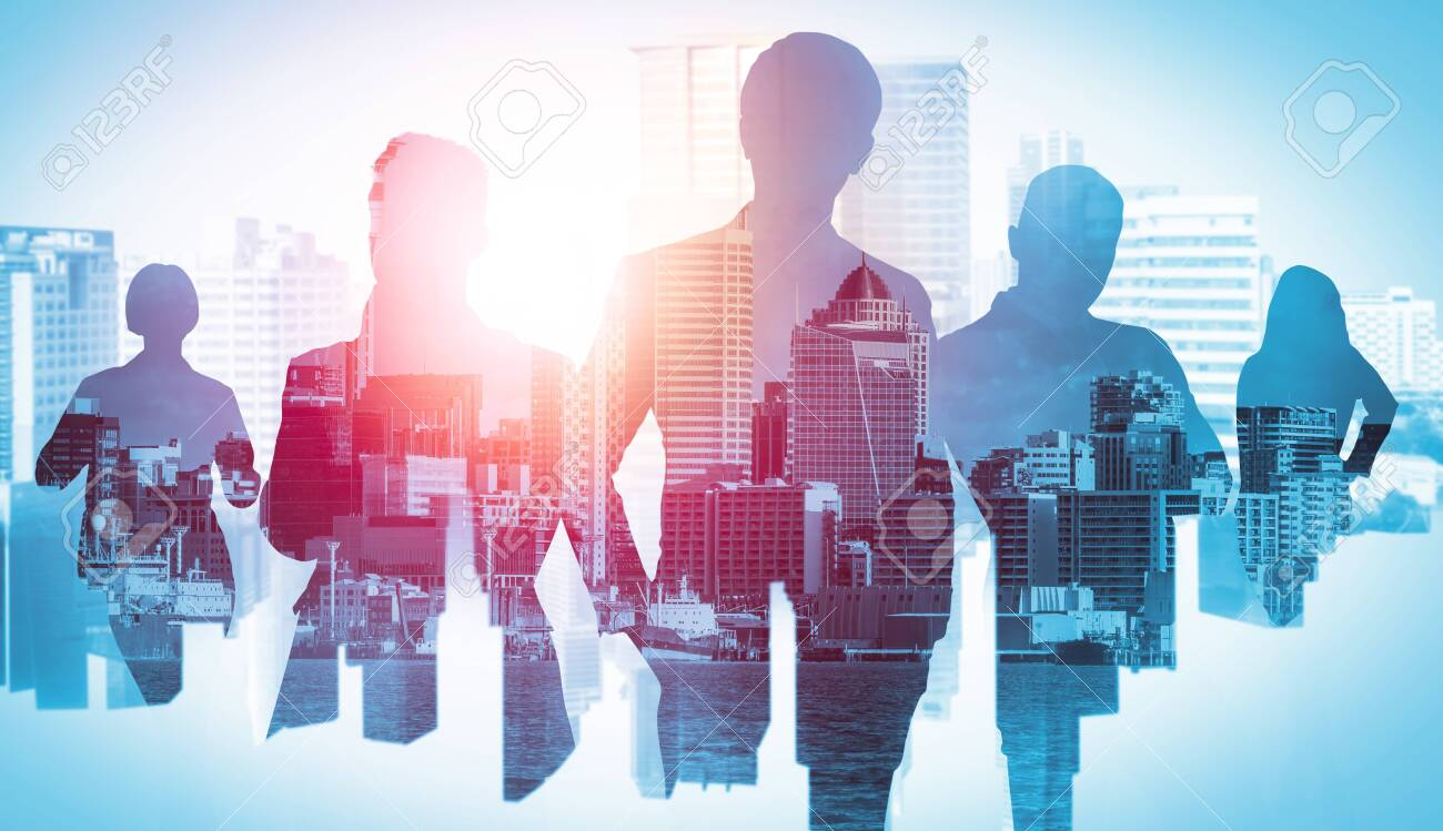 Abstract image of many business people together in group on background of city view with office building showing partnership success of business deal. Concept of employee teamwork, trust and agreement - 157364717