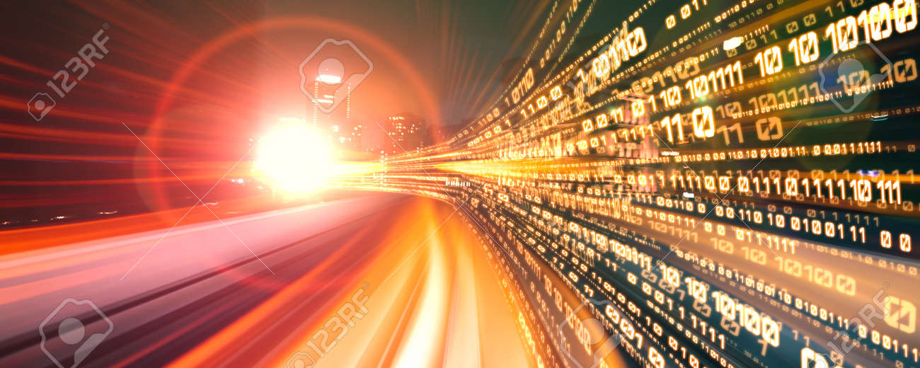 Digital data flow on road with motion blur to create vision of fast speed transfer . Concept of future digital transformation , disruptive innovation and agile business methodology . - 165269593