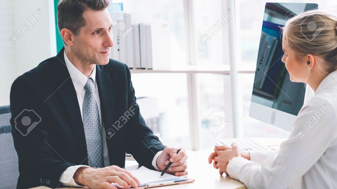 Job seeker in job interview meeting with manager and interviewer at corporate office. The young interviewee seeking for a professional career job opportunity . Human resources and recruitment concept. - 167426335