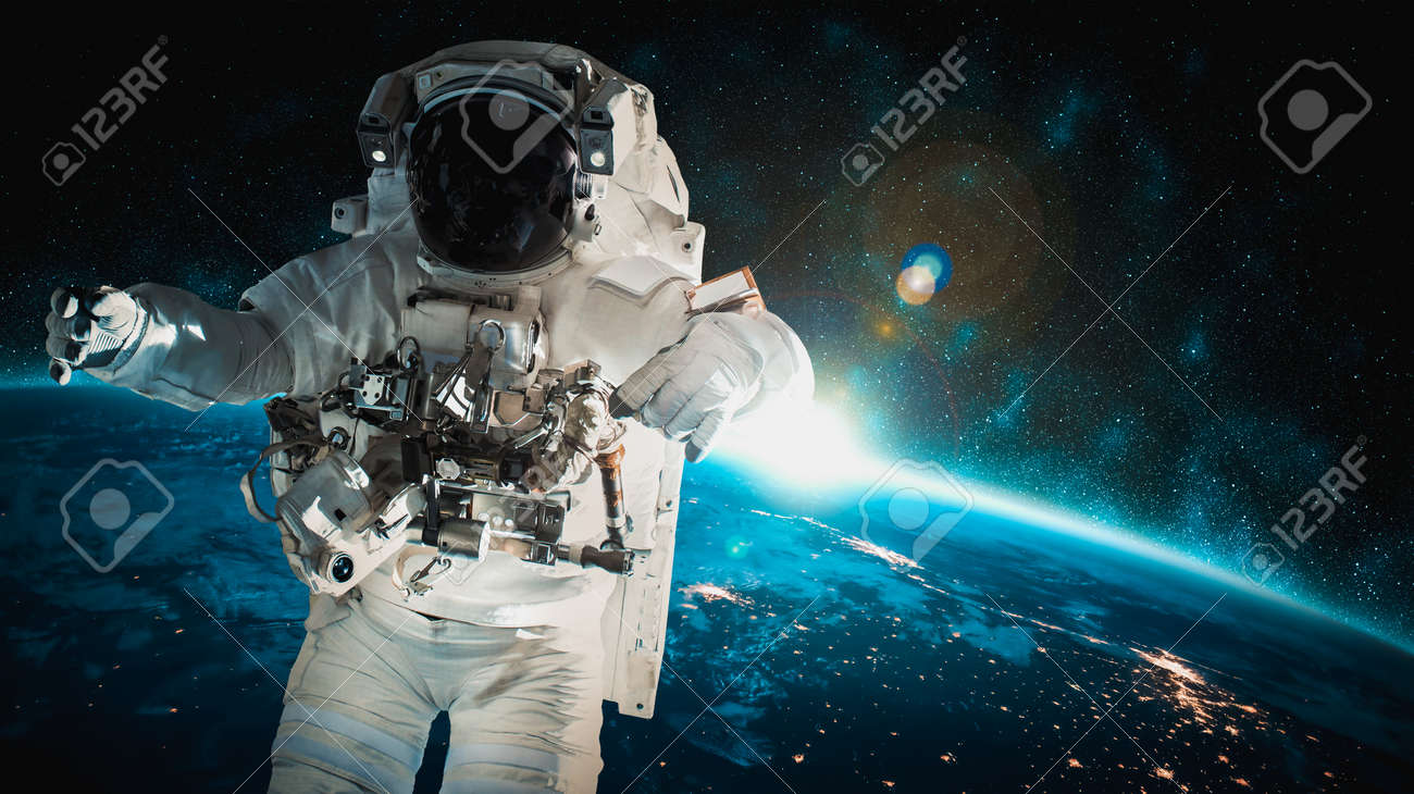 Astronaut spaceman do spacewalk while working for space station in outer space . Astronaut wear full spacesuit for space operation - 167859672