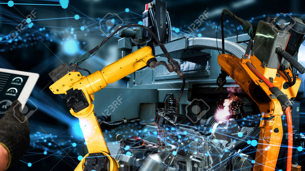Smart industry robot arms modernization for innovative factory technology . Concept of automation manufacturing process of Industry 4.0 or 4th industrial revolution and IOT software control operation. - 167851207