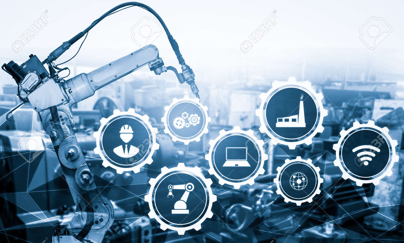 Smart industry robot arms for digital factory production technology showing automation manufacturing process of the Industry 4.0 or 4th industrial revolution and IOT software to control operation . - 168363443