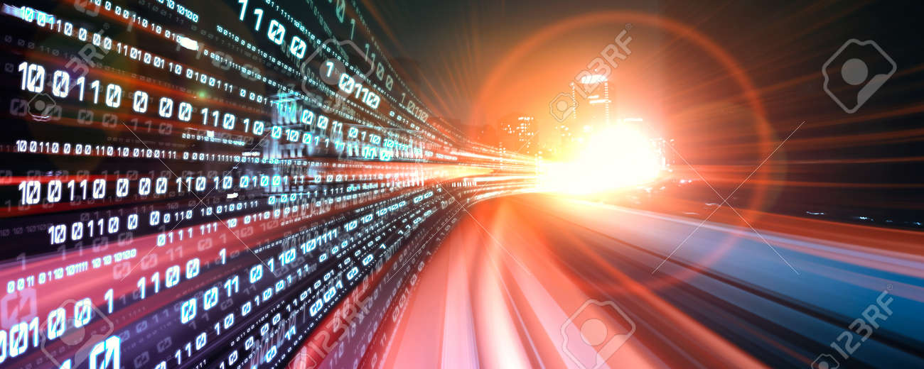 Digital data flow on road with motion blur to create vision of fast speed transfer . Concept of future digital transformation , disruptive innovation and agile business methodology . - 168566552