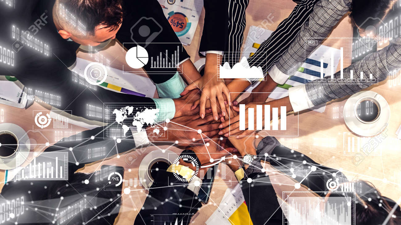 Creative visual of business people in the corporate staff meeting . Concept of digital technology for marketing data analysis and investment decision making . - 169323451