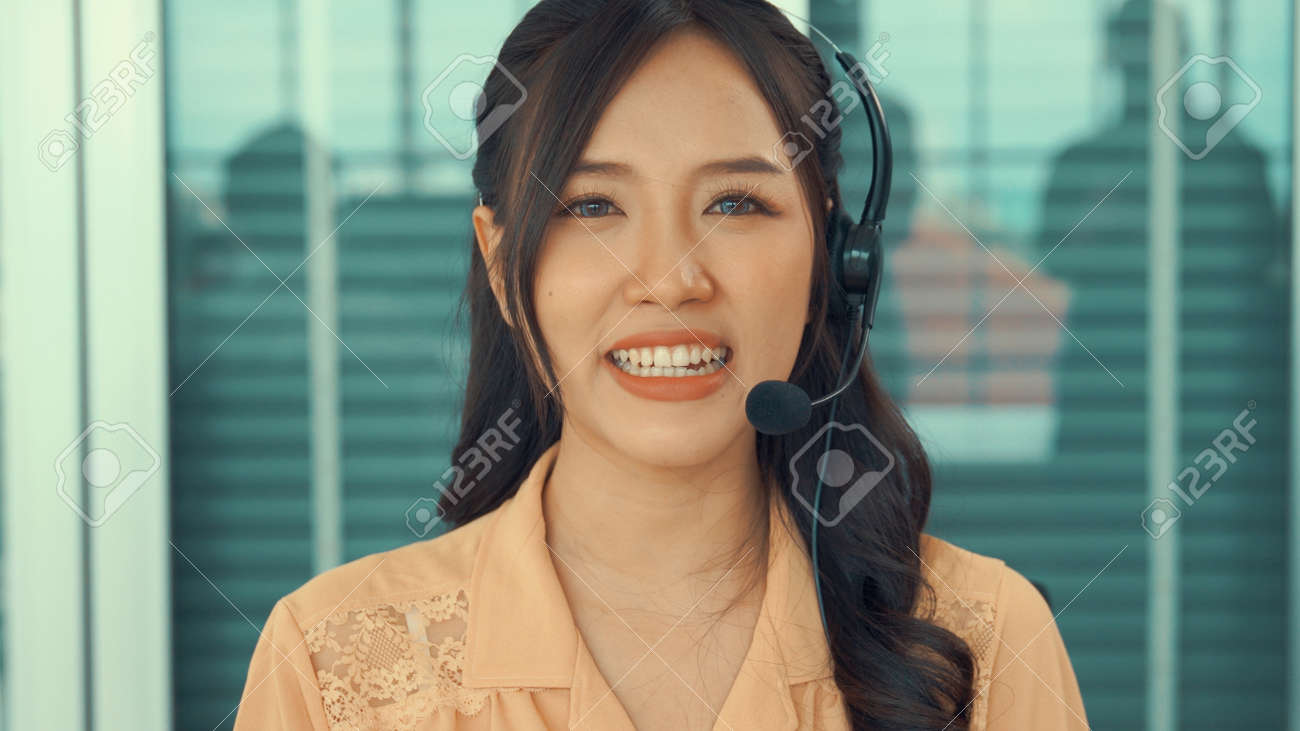 Video call camera view of businesswoman talks actively in videoconference . Call center, telemarketing, customer support agent provide service on telephone video conference call. - 171905643