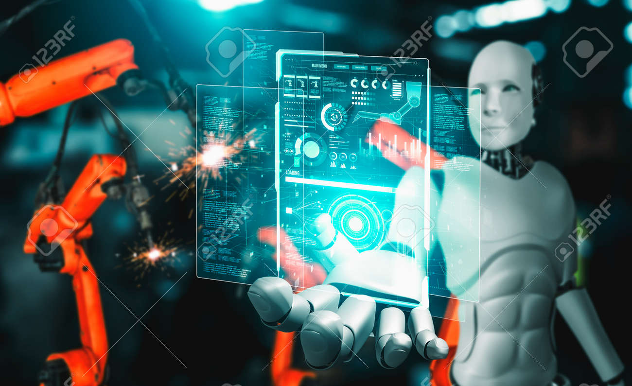 Mechanized industry robot and robotic arms for assembly in factory production . Concept of artificial intelligence for industrial revolution and automation manufacturing process . - 171906045