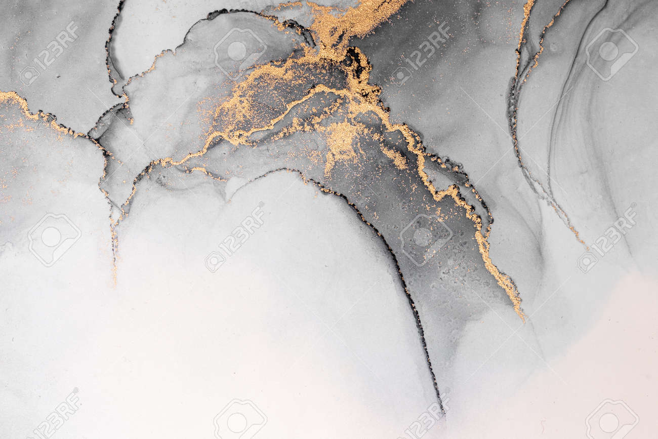 Black gold abstract background of marble liquid ink art painting on paper . Image of original artwork watercolor alcohol ink paint on high quality paper texture . - 171905708