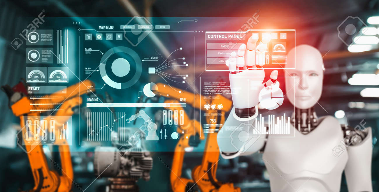 Mechanized industry robot and robotic arms for assembly in factory production . Concept of artificial intelligence for industrial revolution and automation manufacturing process . - 171932147