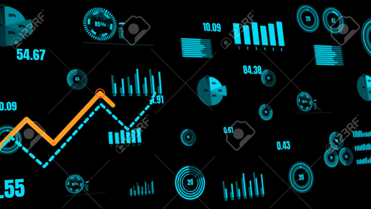 Visionary business dashboard for financial data analysis . 3D rendering computer graphic . - 171925203