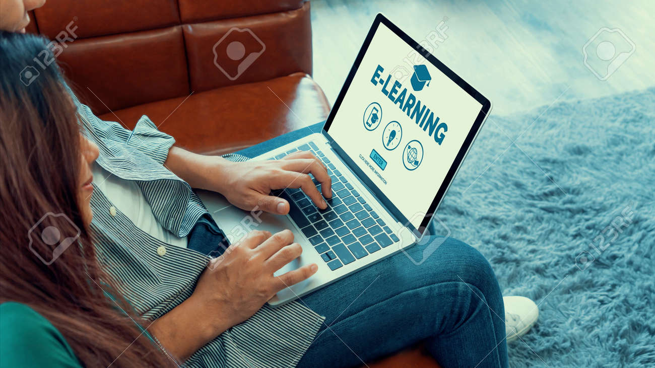E-learning and Online Education for Student and University Concept. Video conference call technology to carry out digital training course for student to do remote learning from anywhere. - 171929005