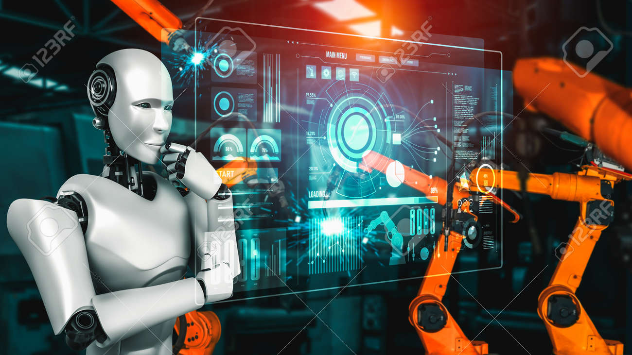 Mechanized industry robot and robotic arms for assembly in factory production . Concept of artificial intelligence for industrial revolution and automation manufacturing process . - 171929001