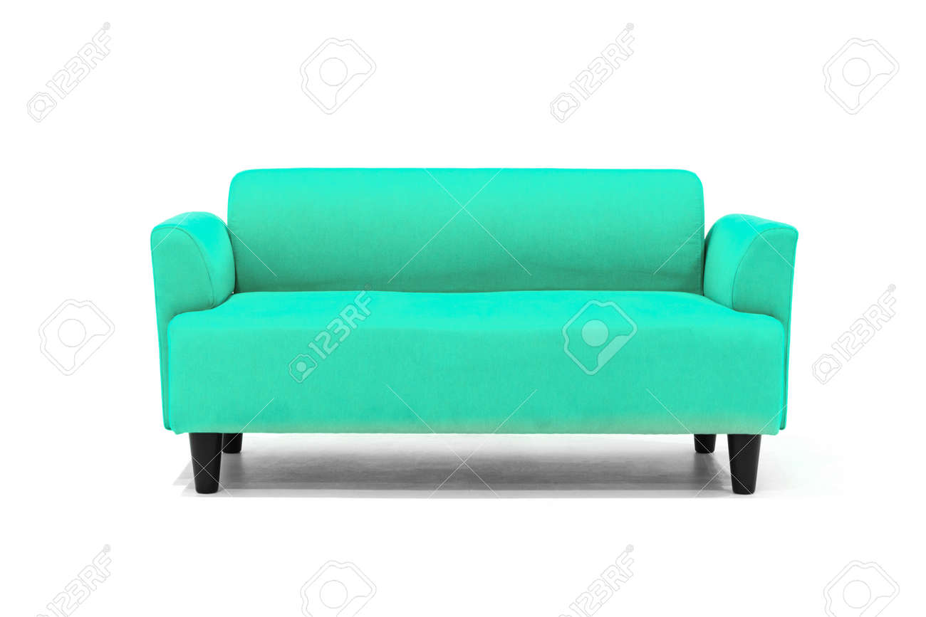 Light blue Scandinavian style contemporary sofa on white background with modern and minimal furniture design for stylish living room. - 171925531