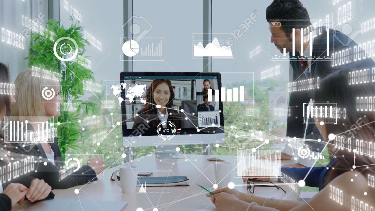 Creative visual of business people in a corporate staff meeting on video call . Concept of digital technology for marketing data analysis and investment decision making . - 171925875