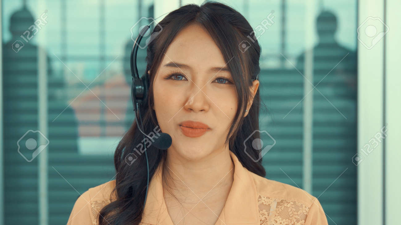 Video call camera view of businesswoman talks actively in videoconference . Call center, telemarketing, customer support agent provide service on telephone video conference call. - 171932160