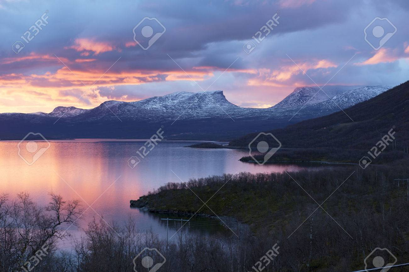light morning to the viewpoint at abisko sweden stock photo