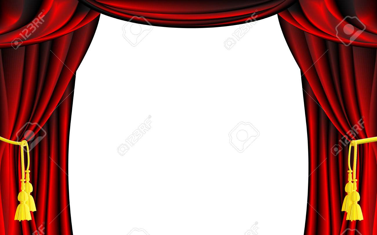 Vector Red Theater Curtain With White Background Royalty Free ...