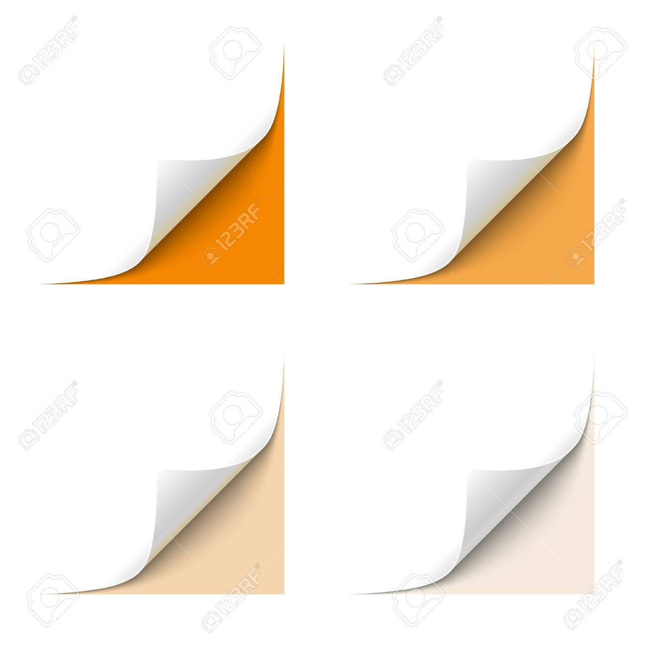 Curled White Paper Corner with Orange Background - 32846059