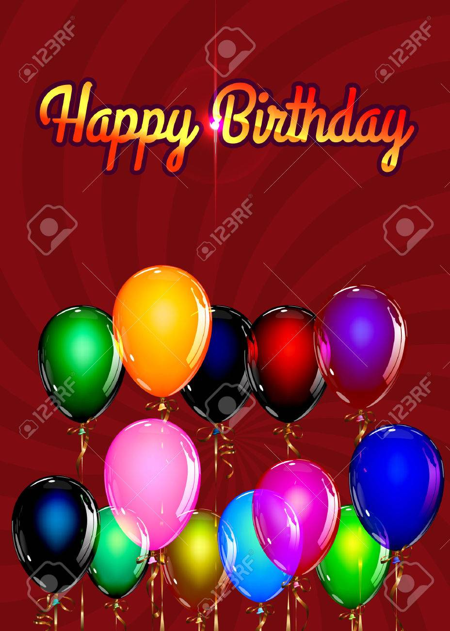 Happy Birthday Balloon Background With Gold Streamers Vector Illustration Stock