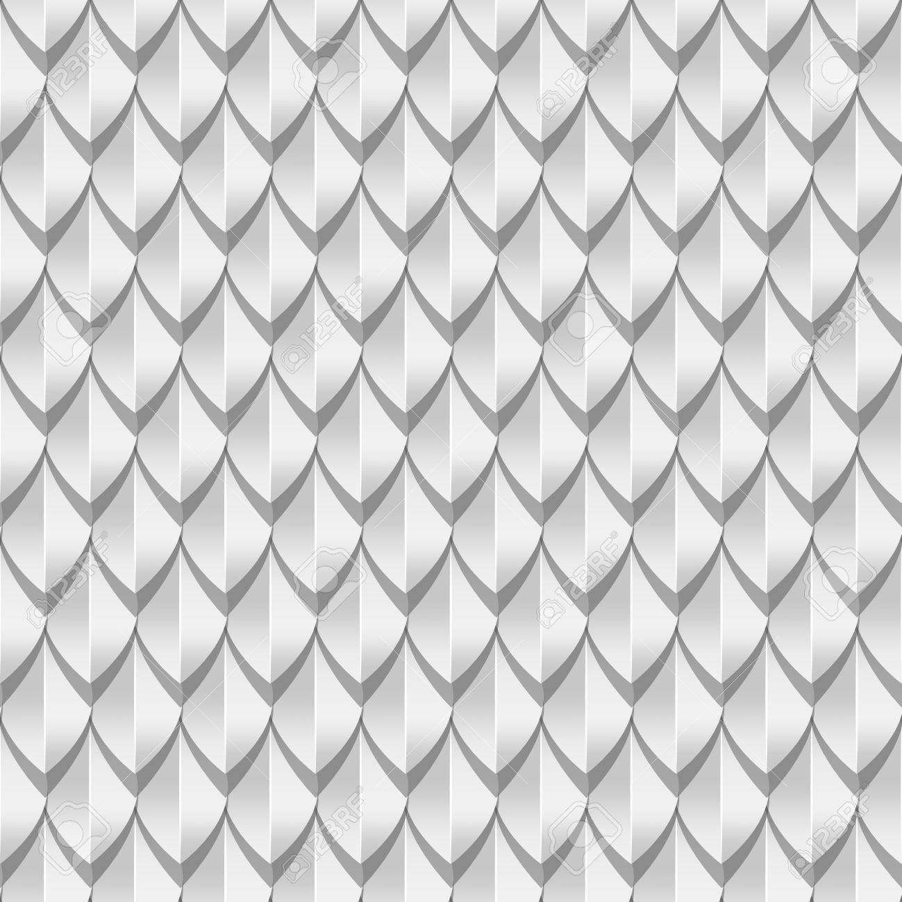 White dragon scales seamless background texture  Vector illustration