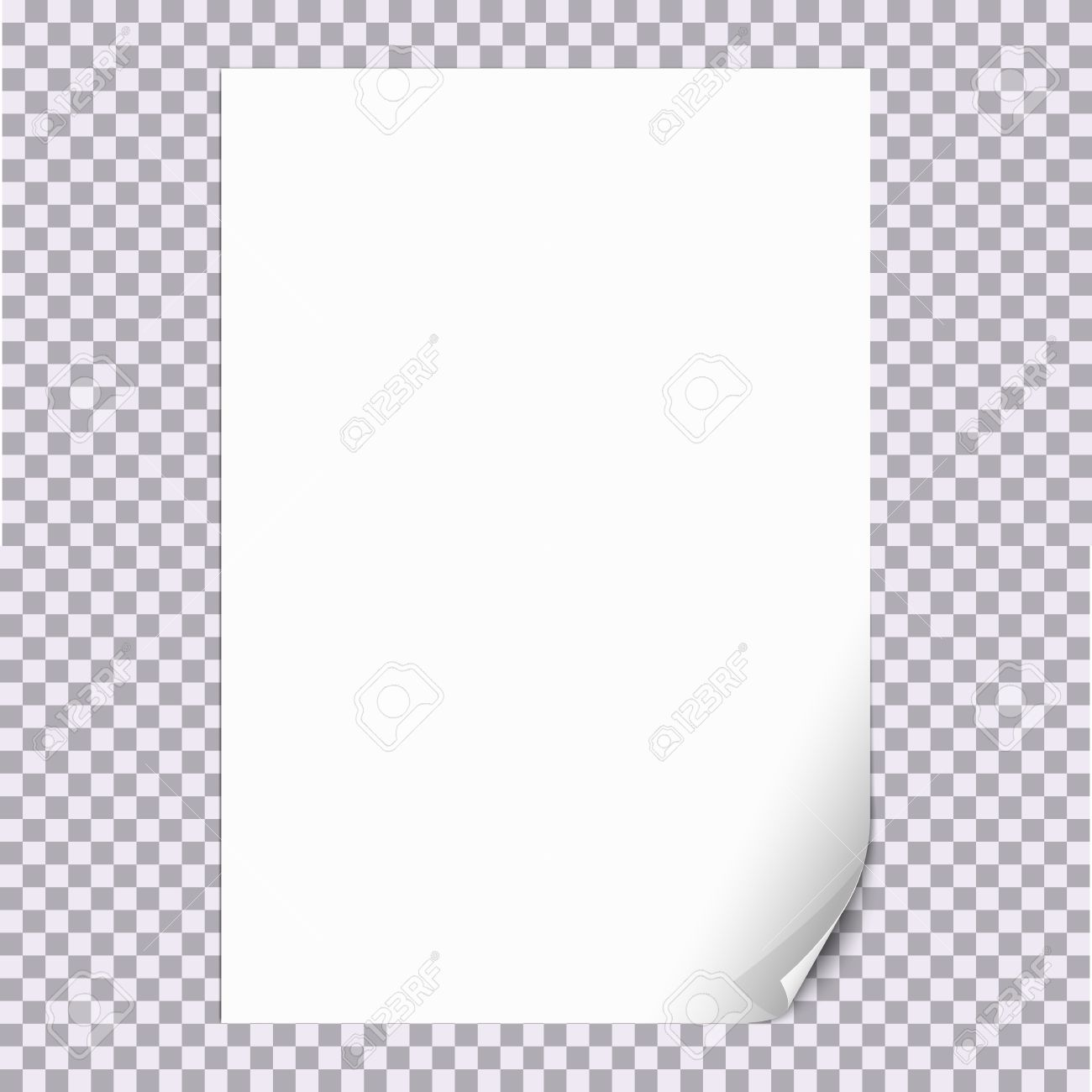 curled paper corner a4 format with transparent background for