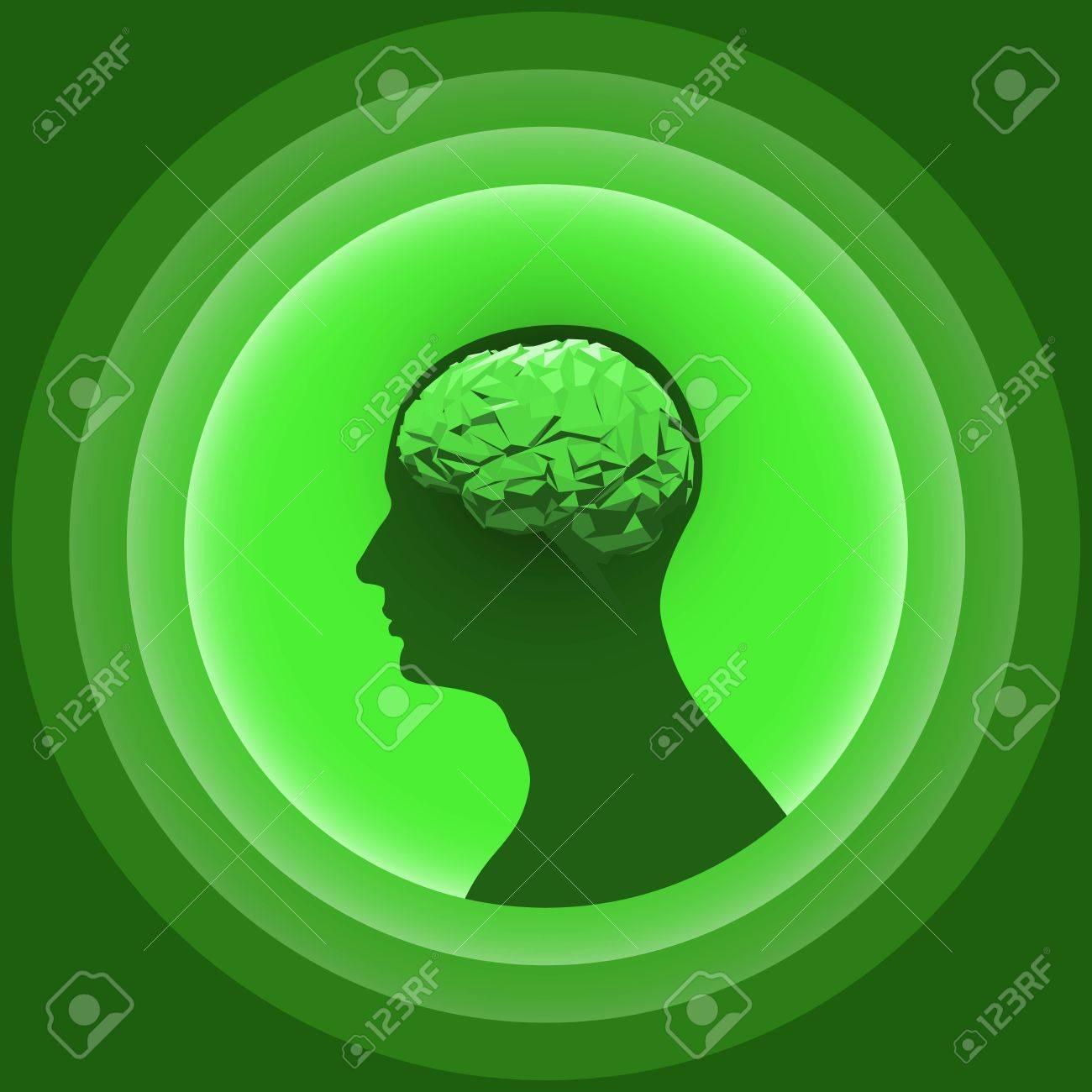 Schattenbild Des Menschlichen Kopfes Mit Glühendem Gehirn ...