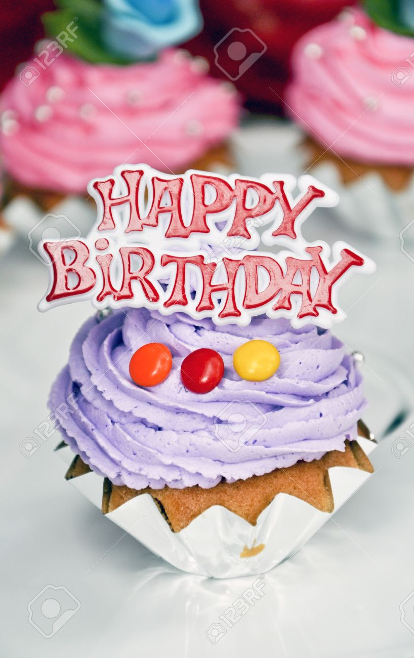 Small Happy Birthday Cakes With Candy Stock Photo