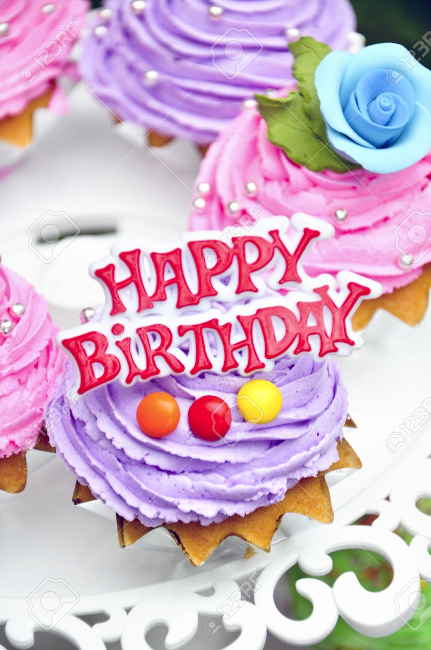 Super Purple Cookies Cake Say Happy Birthday Stock Photo Picture And Personalised Birthday Cards Veneteletsinfo