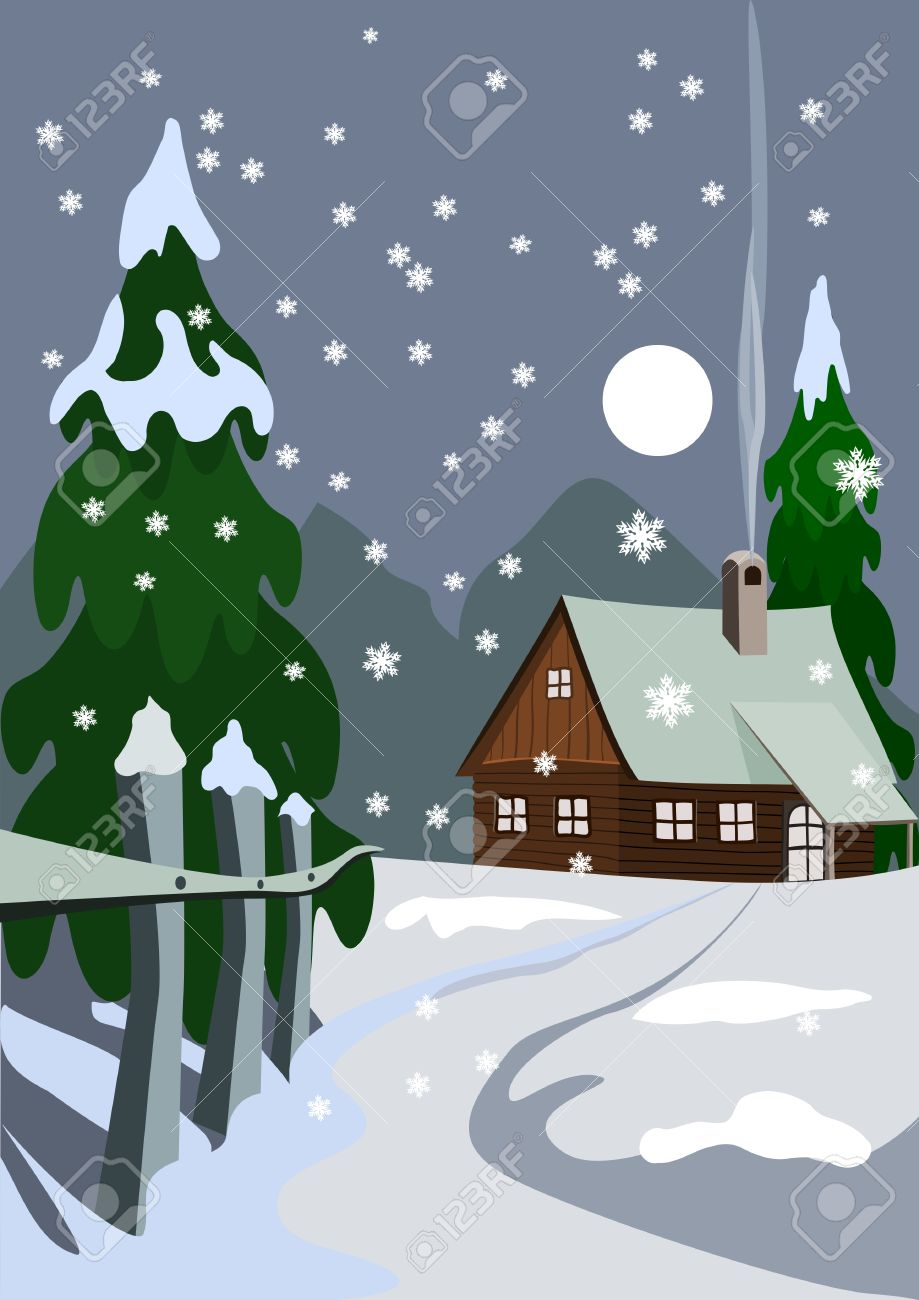 Illustration of house in snow forest Stock Vector - 3668618
