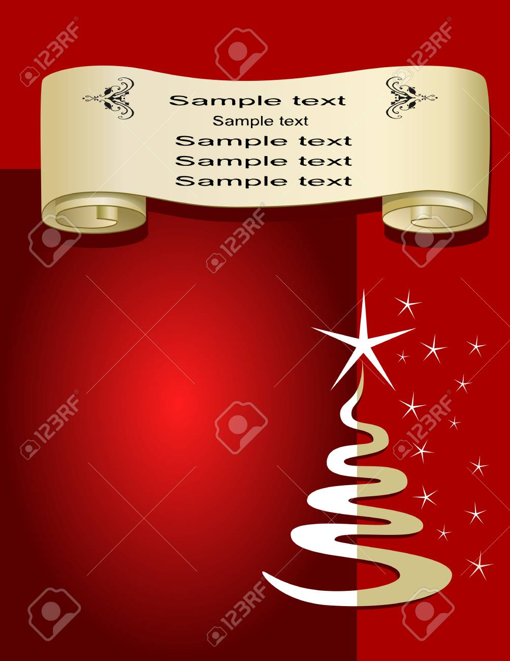 Abstract christmas tree, red background with stars Stock Vector - 6243506