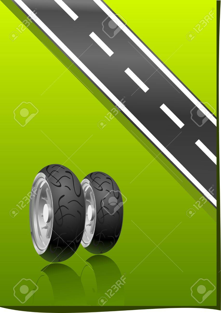 Motorcycle Tyre on a green background (   illustration ) Stock Vector - 8266745