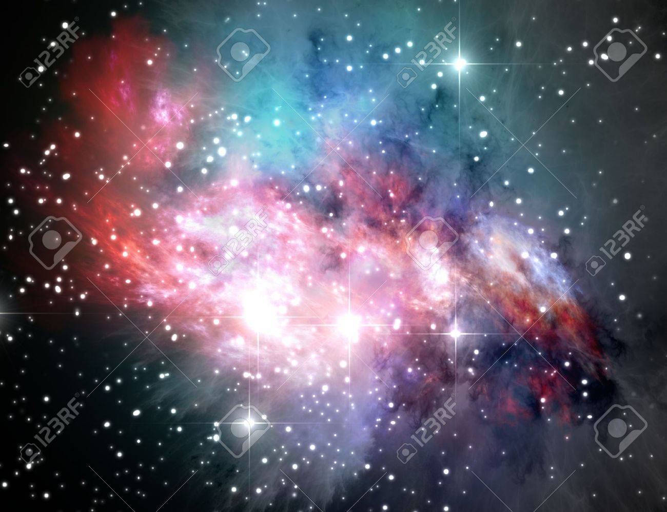 colorful space nebula abstract universe background stock photo