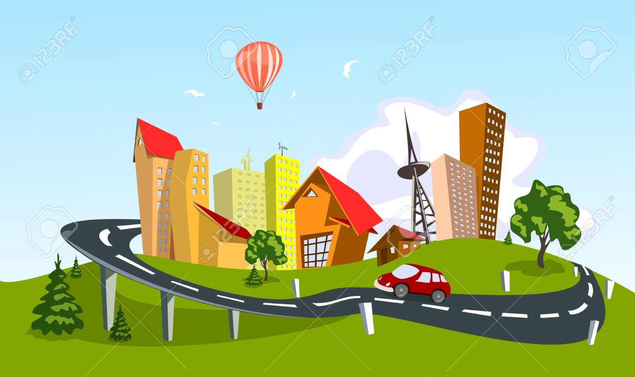 Colorful abstract city. art Stock Vector - 8833852