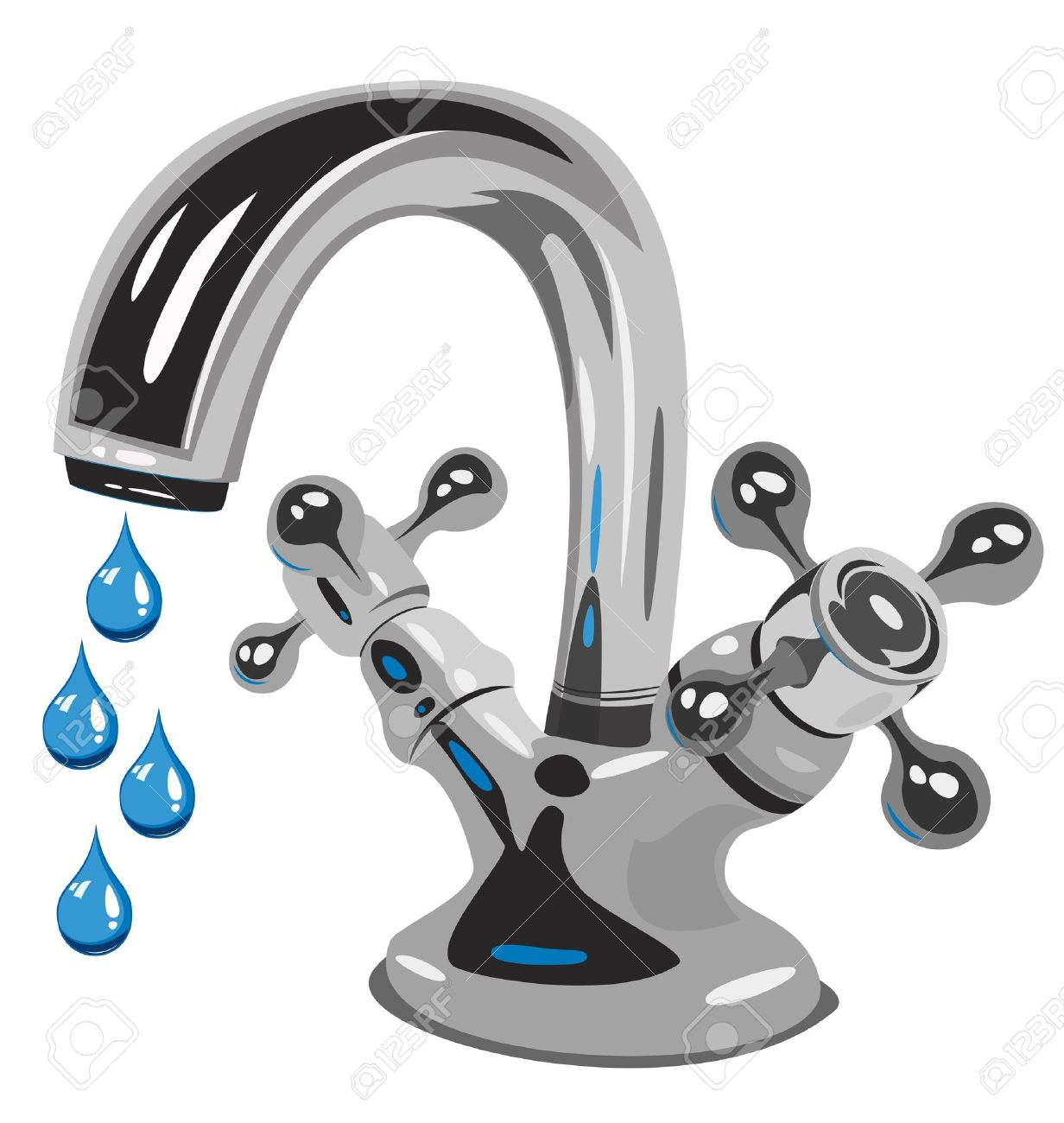 Kitchen Faucet Dripping Clipart