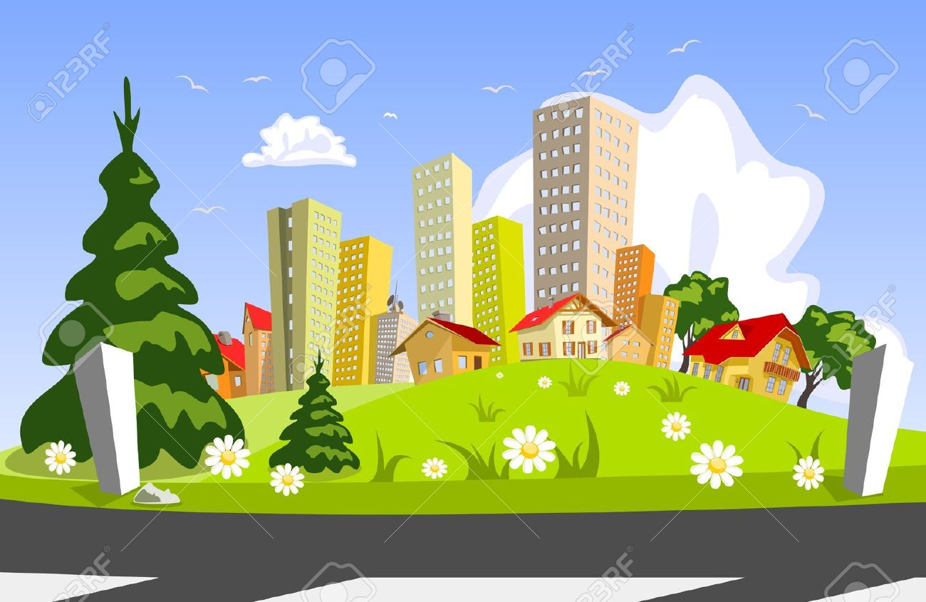Colorful abstract vector city . Vector art Stock Vector - 9577320
