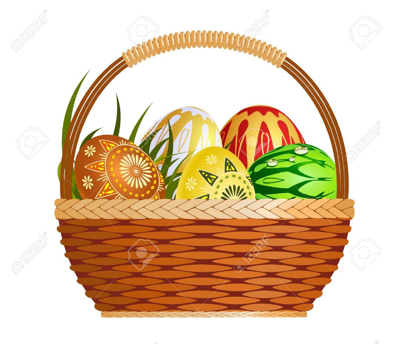 Basket with easter eggs Stock Vector - 9828557