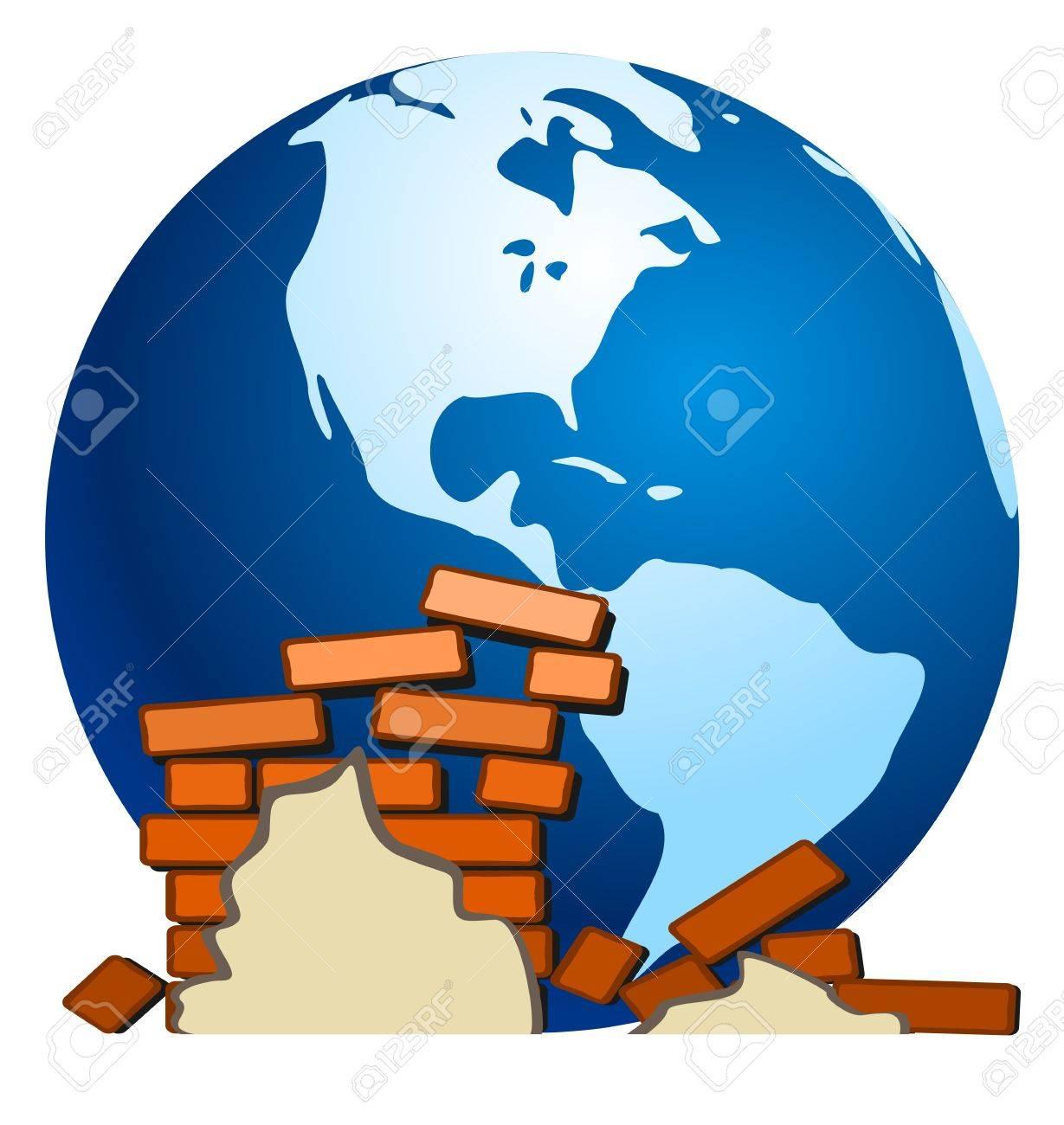 Earth and earth quake Stock Vector - 10659693