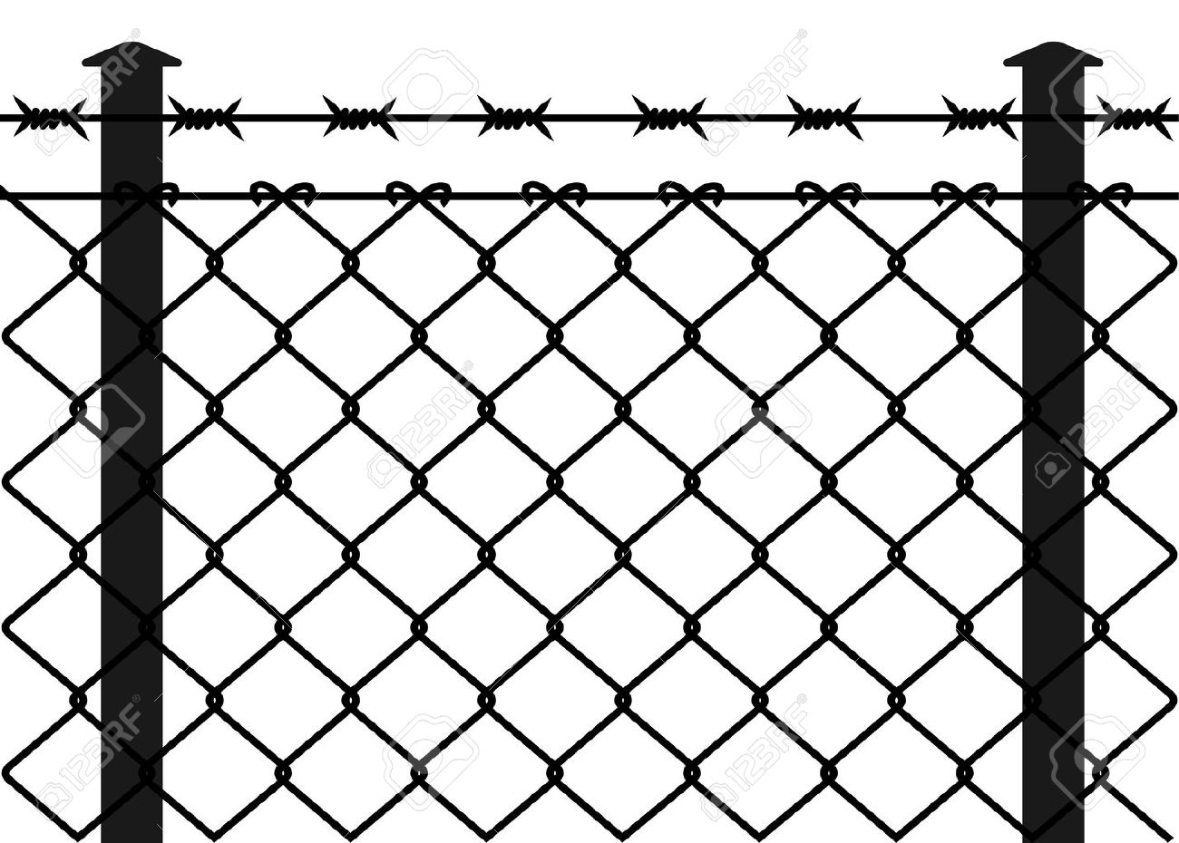 Wire Fence With Barbed Wires Vector Illustration Royalty Free