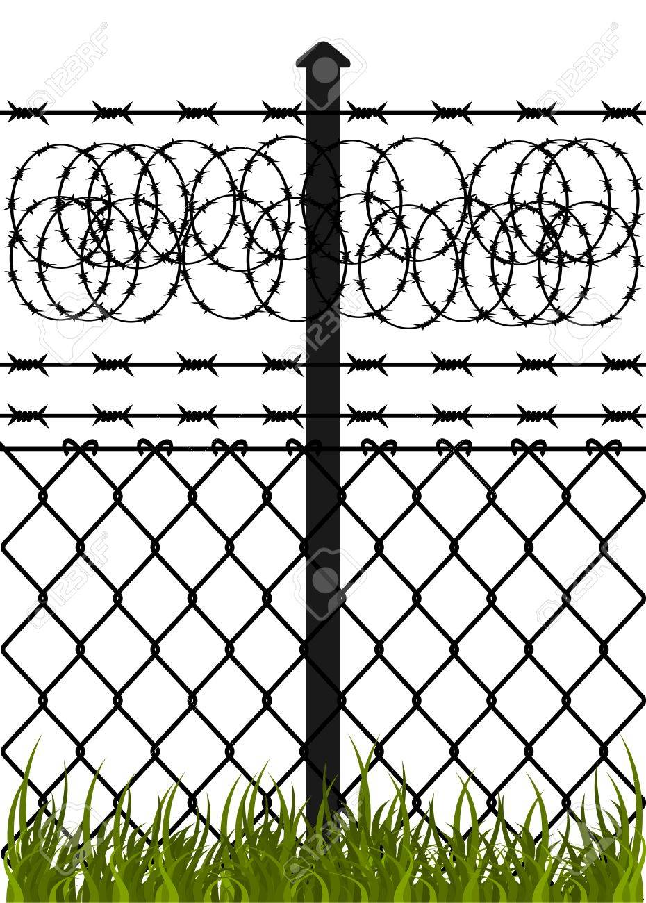 Wire fence with barbed wires  Vector illustration Stock Vector - 12496125
