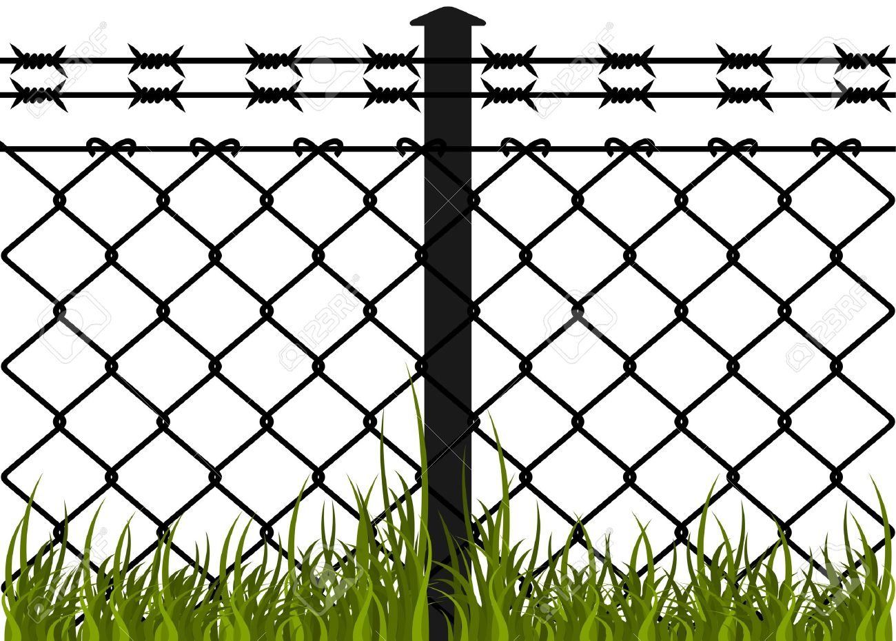 Wire Fence With Barbed Wires Vector Illustration Royalty Free ...