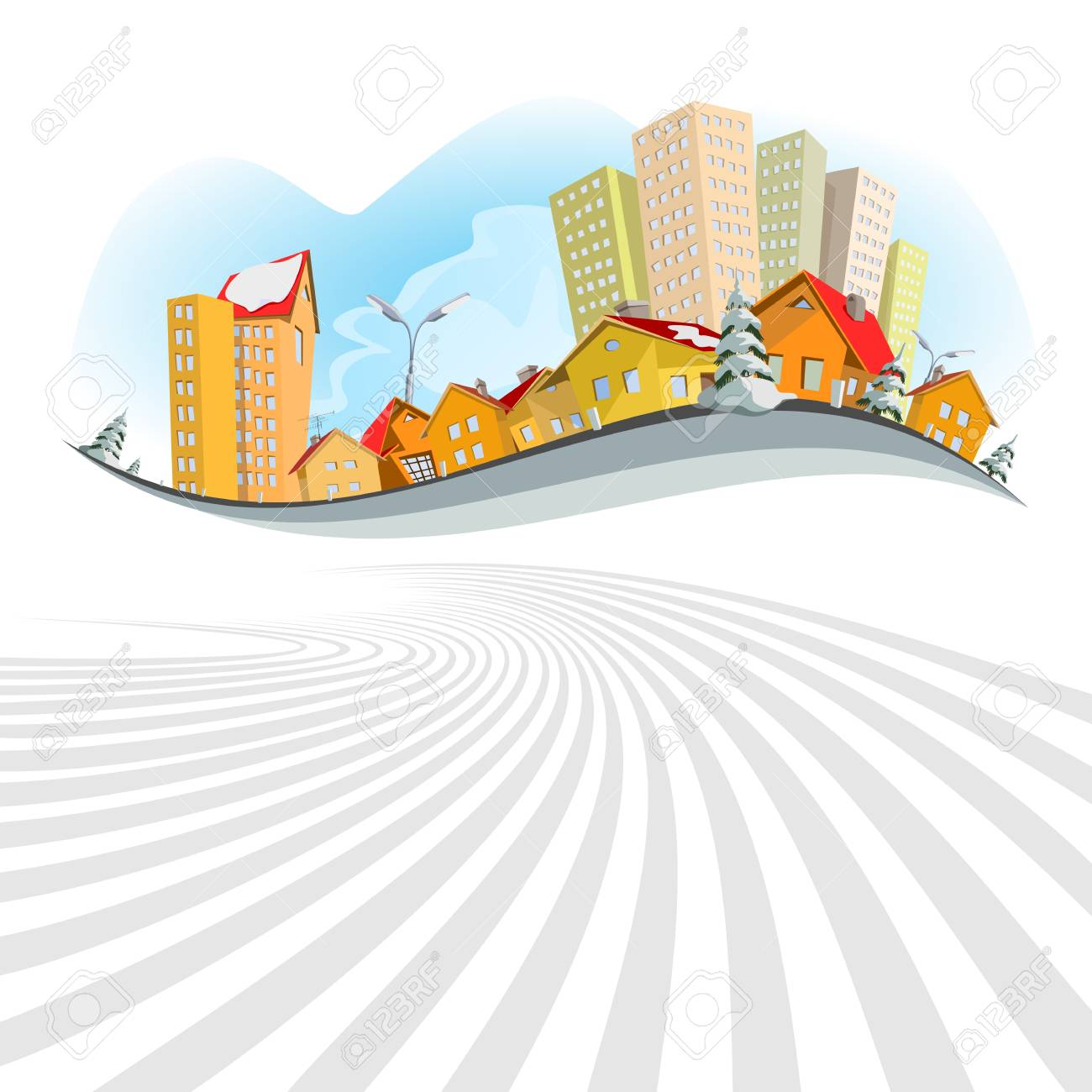 Colorful abstract city. Winter Stock Vector - 12722441