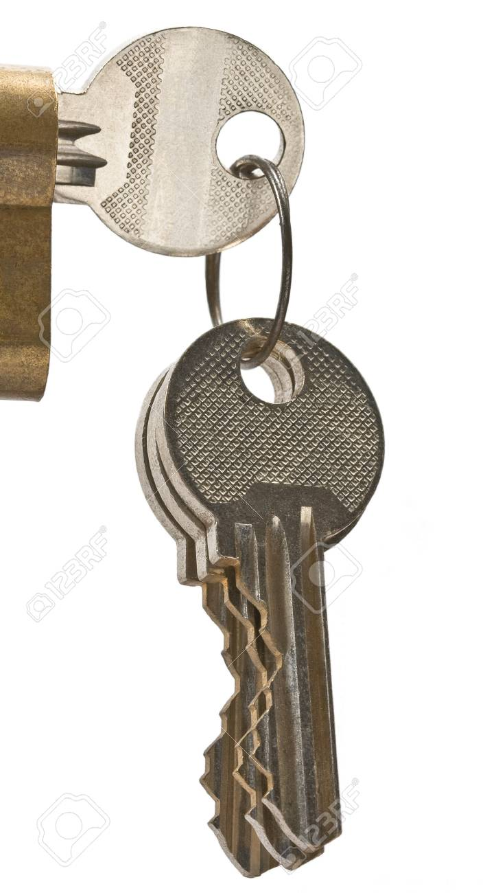 Bunch of keys isolate on white Stock Photo - 12722429