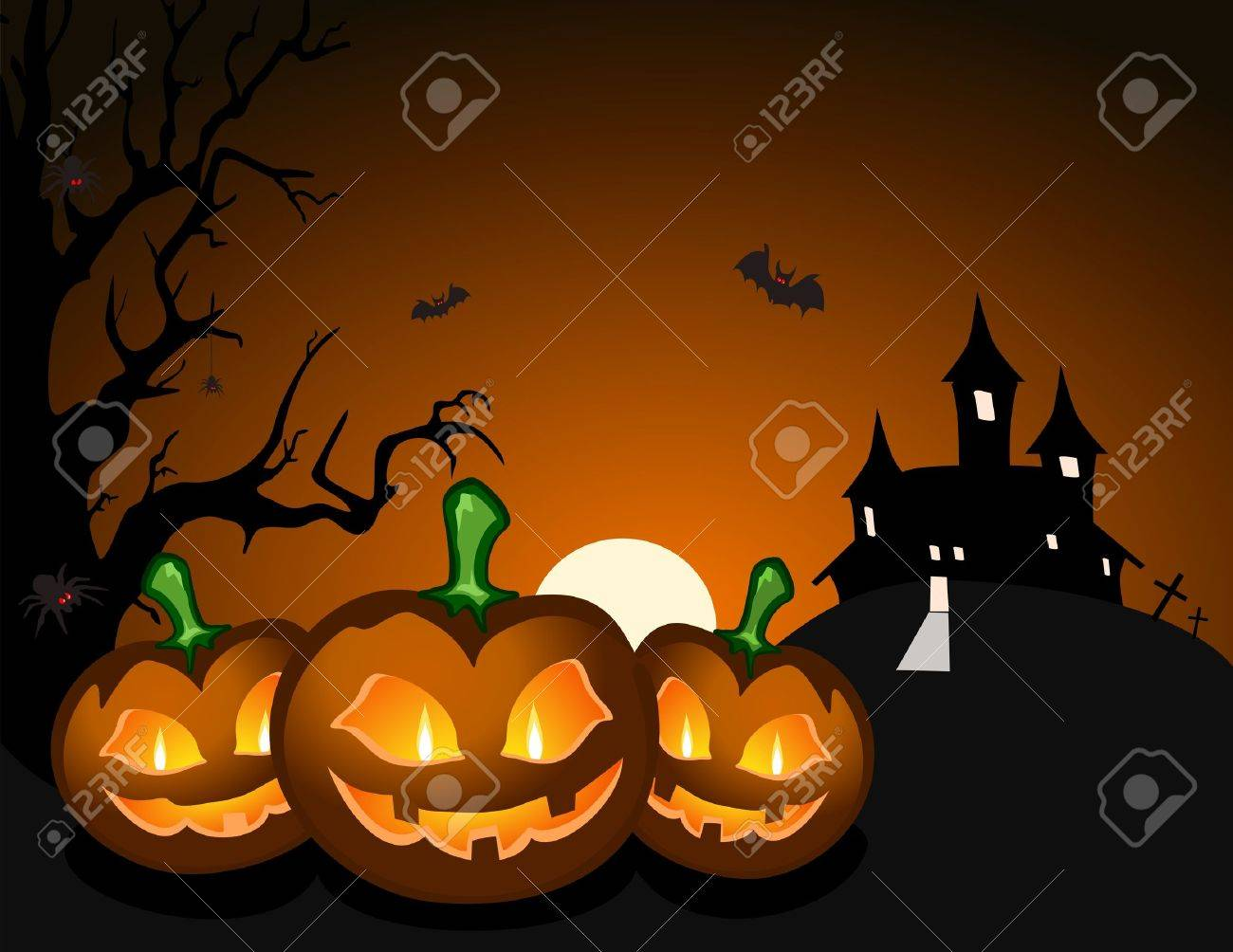 halloween pumpkin and haunted castle royalty free cliparts