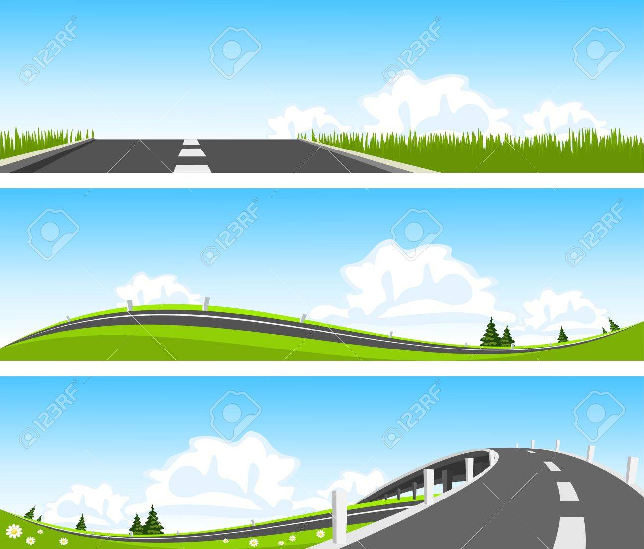 BANNER - Way through nature. Vector Stock Vector - 14075030