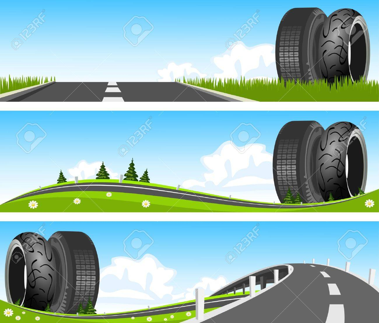 BANNER - Way through nature with tires Stock Vector - 16007169