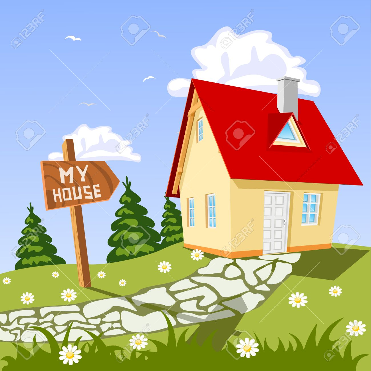 My house in the countryside Stock Vector - 16235659