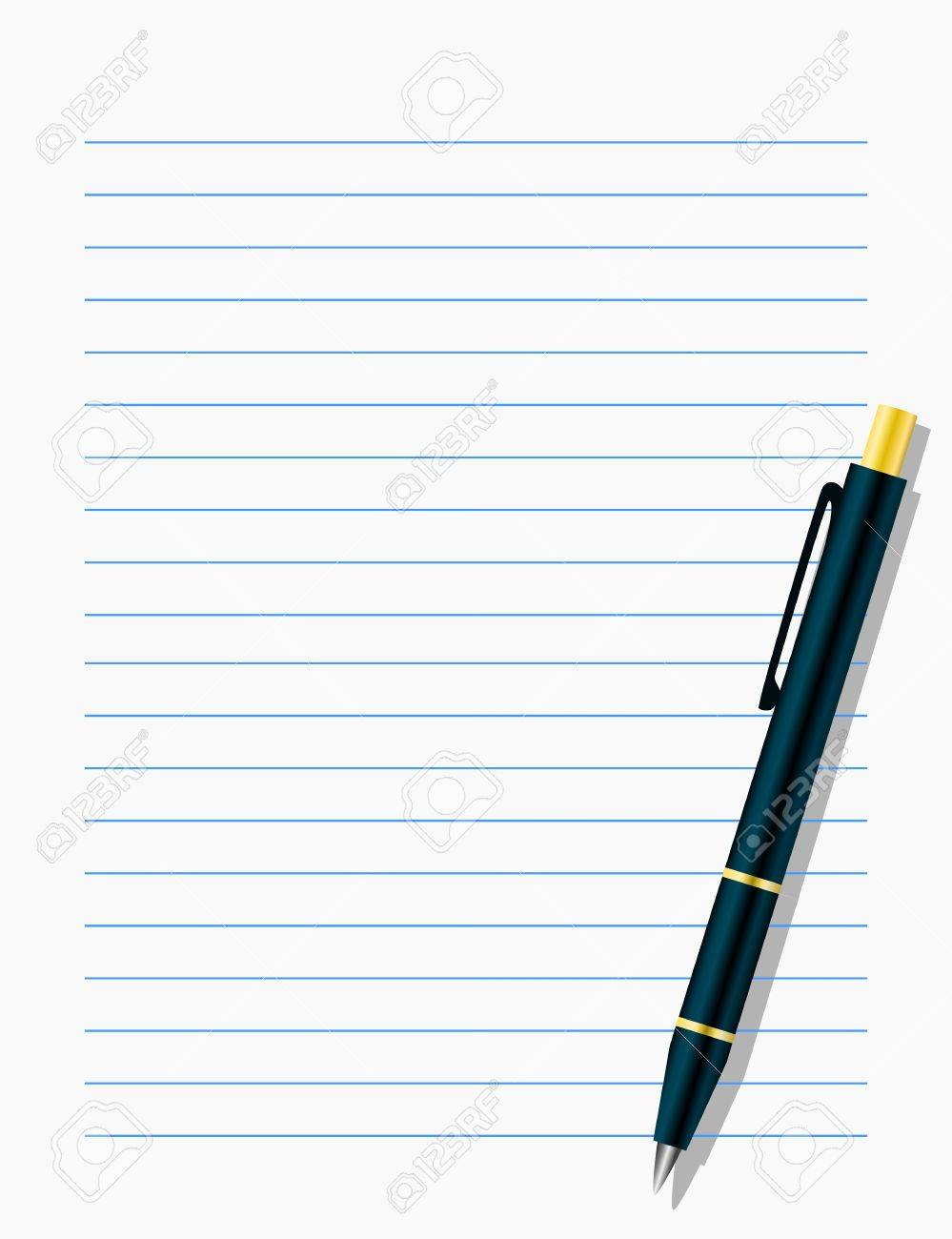Blank workbook page with pen Stock Vector - 16877991