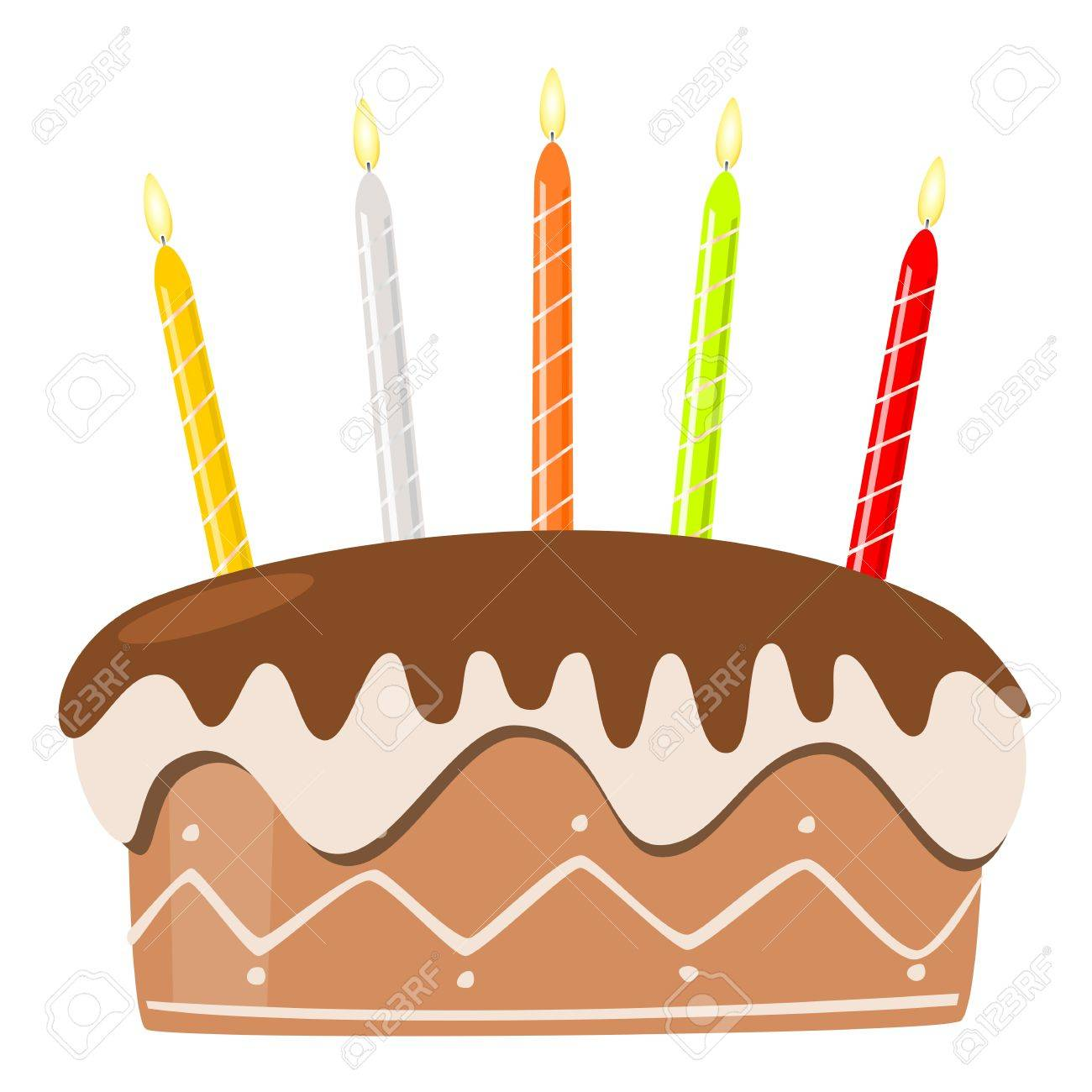 Vector birthday cake with burning candles Stock Vector - 16953768