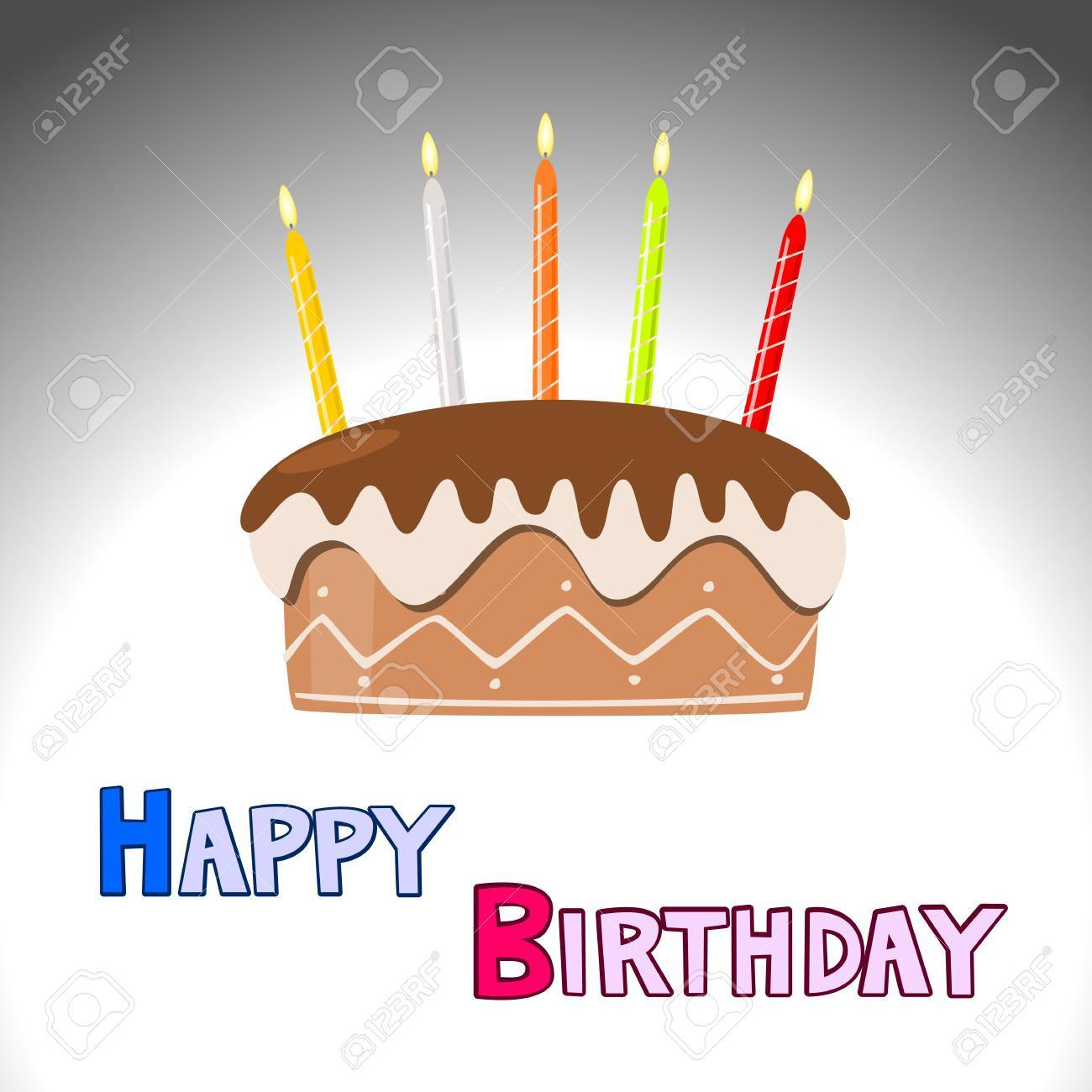 Vector birthday cake with burning candles Stock Vector - 16953771