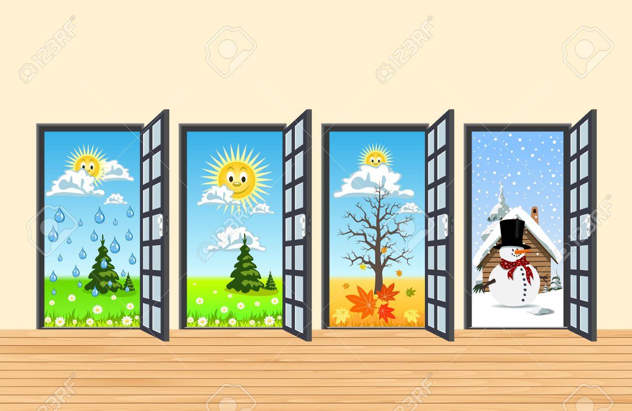 Spring Summer Autumn Winter four doors in corridor Stock Vector - 23069236