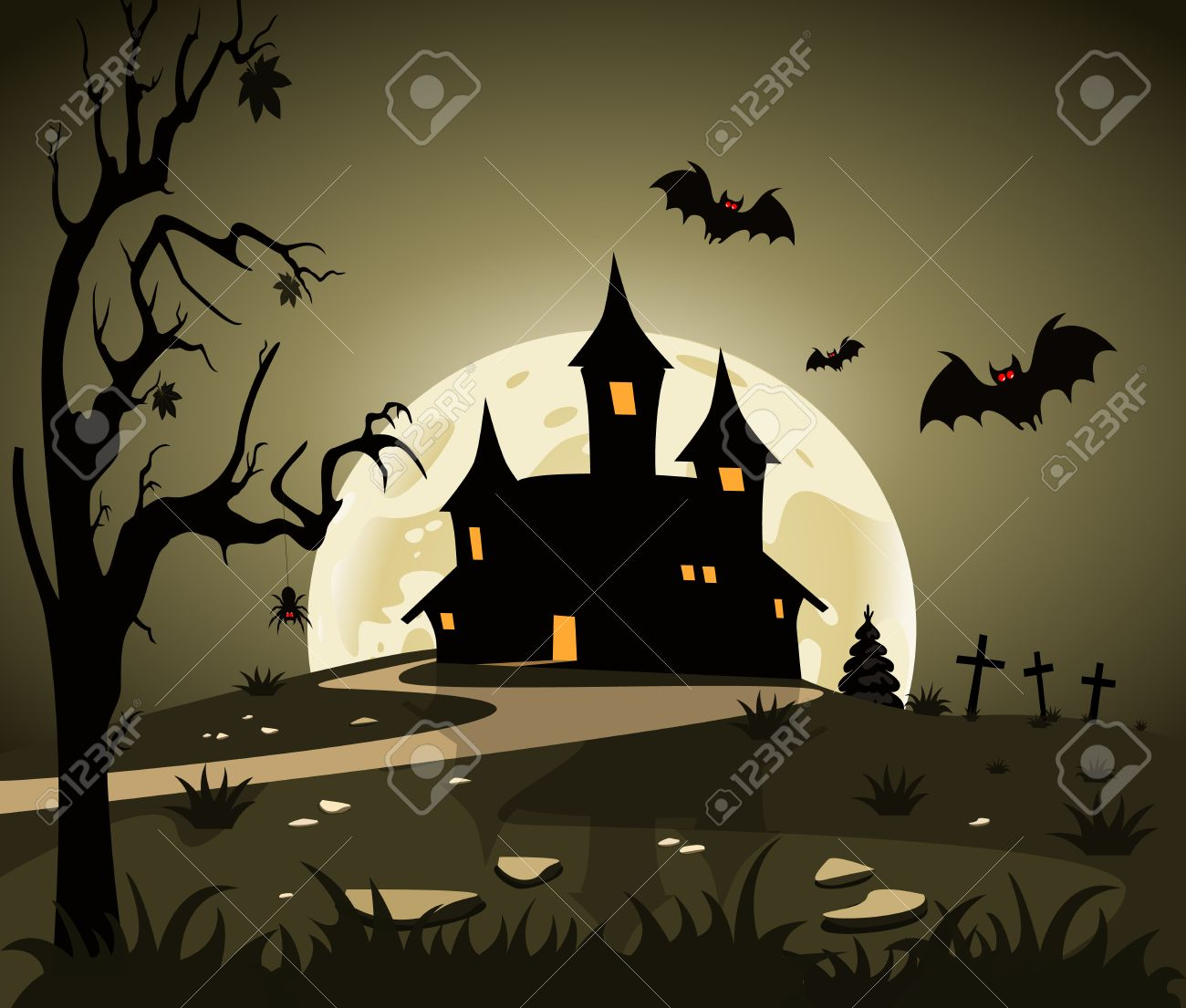 Halloween Theme From The Castle In The Background Royalty Free ...